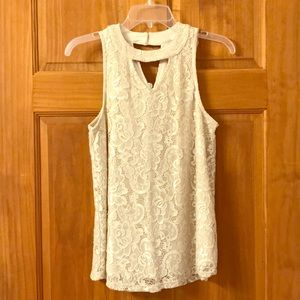 All over lace high neck tank